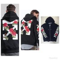 fc7421dfe214 grosir jaket sweater hoodie off white floral hitam premium mirror