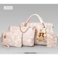 tas jinjing putih wanita kulit motif selempang besar kecil plus dompet