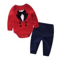 Harga baju bayi balita laki acara murah rompi merah celana set katun 00 | Pembandingharga.com