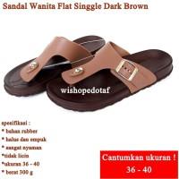 Sandal Wanita Flat Singgle DARK BROWN