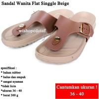 Sandal Wanita Flat Singgle BEIGE