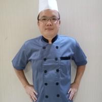 Baju Chef lengan pendek abu kombinasi