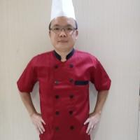 Baju Chef Seragam Chef maroon lengan pendek kombinasi
