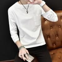 Kaos T-Shirt Lengan Panjang O-Neck dengan Saku 1 Warna Murah