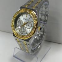 jam tangan wanita kombinasi warna kuning putih