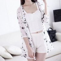 Women's Girls Casual Chiffon 3/4 Sleeve Sun Protection Cardigan Top