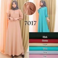 Baju Gamis Wanita Terbaru Polos Tangan Serut Bahan Babat Crepe 7017