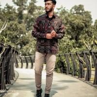 Kemeja pria batik songket hitam baju batik cowok