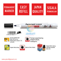 Spidol Permanent Marker (Hitam) SNOWMAN AG-12 Segala Permukaan Benda