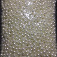 Mutiara plastik/tindik 8mm warna putih kilap tanpa lubang