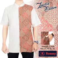Kemeja Baju Koko Muslim Pria eXe Putih Krem Kombinasi Batik Ivory S.