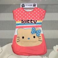 Baju Daster super lembut Free size muat sampai XL (Peach Kitty )