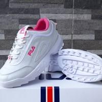 Sepatu Fila Disruptor II Putih In Pink Sneakers Casual Wanita Import