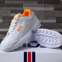 Sepatu Fila Disruptor II Putih In Oren Sneakers Casual Wanita Import