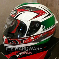 HELM FULL FACE KYT DOUBLE VISOR VENDETTA 2 GREEN RED MURAH