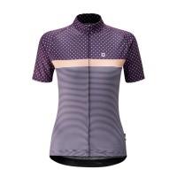 Jersey Sepeda Wanita Chapeau Madeleine Polka Stripe - Purple Moon
