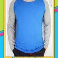 Baju Kaos Polos Raglan - Biru Muda Lengan Abu Panjang