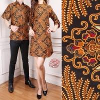 Couple Batik Raz Lengan Serut Long Tunik Wanita dan Kemeja Batik Pria
