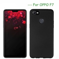 Softcase TPU Carbon Matte Black Cover Case Casing HP Oppo F7 Lentur