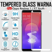 Tempered Glass Warna Full Cover Black Thin HP Oppo F7 Youth/RealMe 1