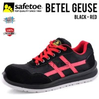 Safetoe Betel Geuse Sepatu Safety Shoes Metal Free Composite Black Red