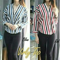 Blouse Virly Top Blue Red