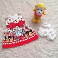 Tsum Tsum Pita Full Print Baju Dress Anak Bayi Perempuan