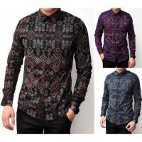 Baju Pria Murah Kemeja Batik Songket Lengan Panjang
