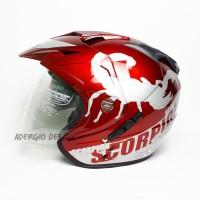 Helm SNI JP 7 DOUBLE VISOR - Motif Scorpion Merah Maroon GM NHK INK