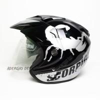 Helm SNI JP 7 DOUBLE VISOR - Motif Scorpion Hitam GM, NHK, INK, KYT