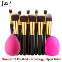 Fortune Kuas Makeup Brush 10 Set Gold (K008 Brush Egg Spon Beauty)