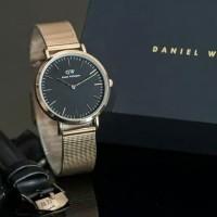 jam tangan wanita merk Daniel wilington rantai full Ross plat hitam