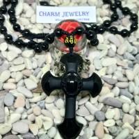 FJ015 Kalung Salib Batu Obsidian Hitam Natural Obsidian Stone