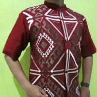 03M,Baju Atasan Koko Muslim Lengan Pendek Pria / Laki-laki warna merah
