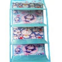 HSOZ Doraemon Biru muda ((Hanging Shoes Organizer Zipper) Rak Sepatu