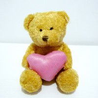 Harga boneka teddy bear pink love heart bear import doll high | Hargalu.com