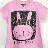 Baju kaos karakter anak perempuan funny bunny 1-6