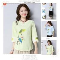 atasan cassual wanita, baju korea, import, katun, motif, biru, hijau
