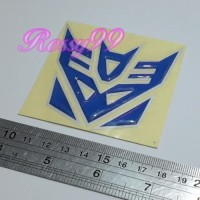 Sticker Timbul DECEPTICON Transformer BIRU Stiker Emblem Body Motor