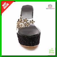 Harga sepatu wanita hitam motif bunga cantik pesta acara kondangan | Pembandingharga.com