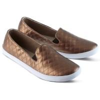 Sepatu Flat Shoes Wanita Cewek Slip On Terbaru Warna Gold GF.1703 GR