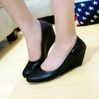 promo Sepatu Wedges Pantofel Pita Polos - Beige, 40 unik