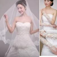 Harga paket 2 in 1 sarung tangan veil gaun baju pengantin | antitipu.com