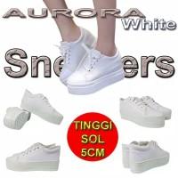 Wedges Sneakers Putih Hitam | Sepatu Sneaker Wanita Korea Casual