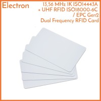 RFID Dual Frequency UHF ISO18000-6C EPC Gen2 + 13.56 MHz Card Tag