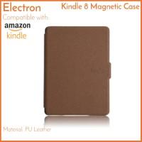 Kindle 8 Case Brown Coklat Basic PU Leather Magnetic Amazon 2016