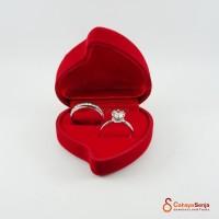 Tempat cincin / Ring Box / Kotak Cincin Love Couple Beludru IMPORT