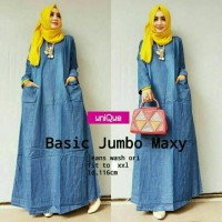 Basic Jumbo Maxy Jeans Gamis Jumbo Pocket Murah Baju Jumbo Dress Jumbo