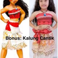 Paling Di Cari Baju Dress Kostum Disney Moana + Kalung Cantik (1 Set)