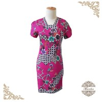 Dress batik fushia model cheongsam